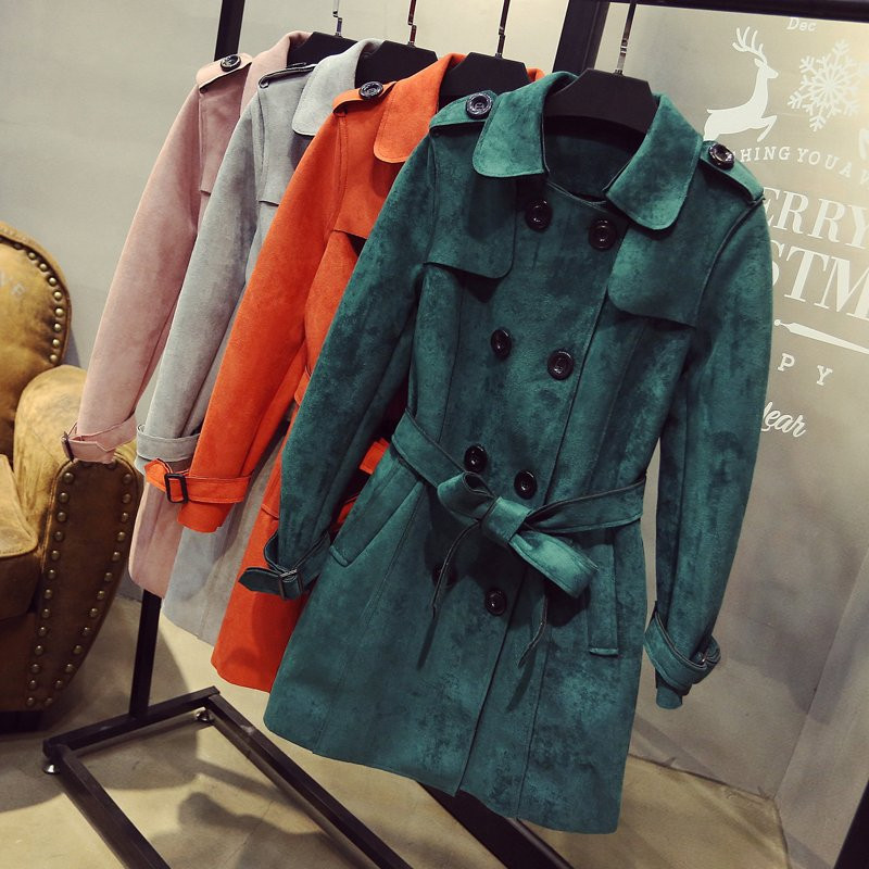 Plus Size 3XL Spring Autumn Suede   Trench   Coat Women Double Breasted Office Ladies Long   Trench   Coat Casaco Vogue Overcoat C3488