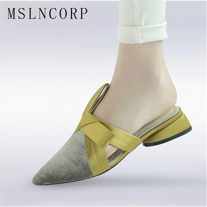 size 34-43 Spring Genuine Leather Bowknot Pointed Toe Flat Women Slippers Slip On Riband Butterfly Casual Shoes Outdoor Slides цена 2017