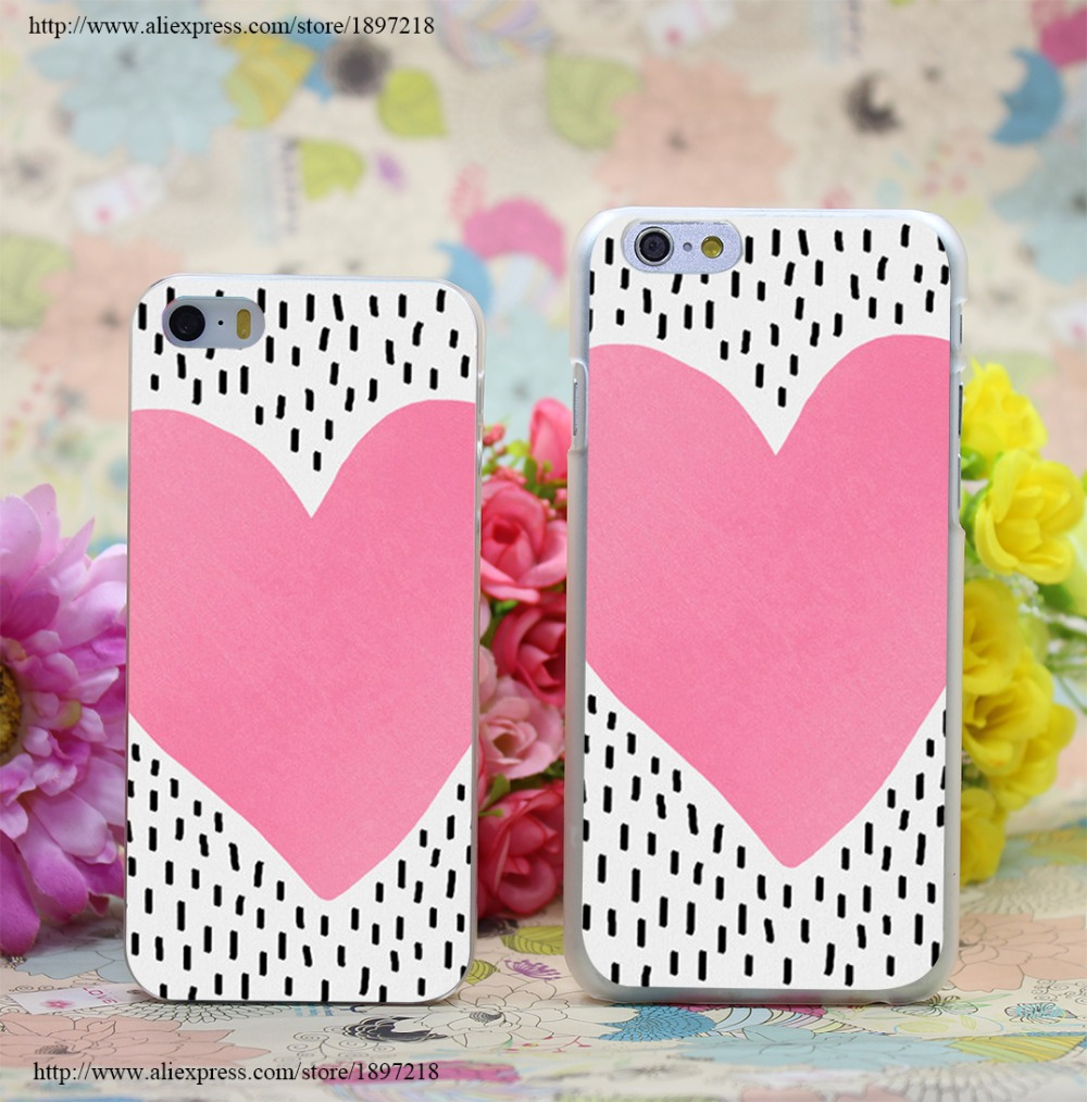 2371W Pink Heart Transparent Hard Case Cover for iphone 7 7 Plus 6 6s plus 4 4s 5 5s SE 5c