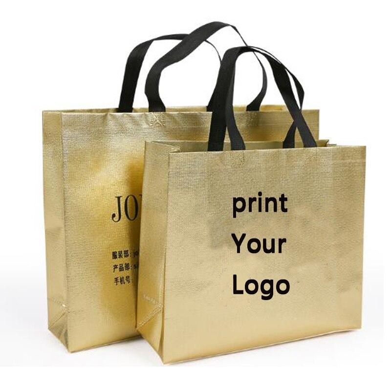 200 Stücke Individuelles Logo Taschen Gold Einkaufstaschen Mit Logo Vlies Geschenk Taschen Silbrig Kleidung Taschen Schuhe 32*28*10 Cm Online Shop