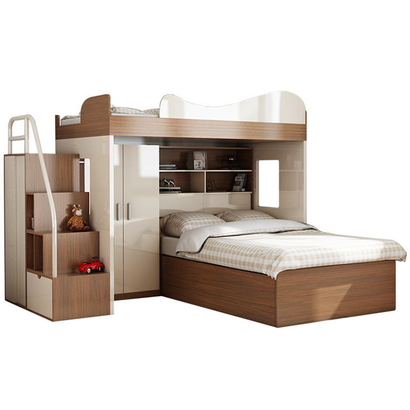 US $2479.0 |CBMMART children mdf bunk bed with wardrobe, desk, storage  stairs, slide, mattress-in Bedroom Sets from Furniture on AliExpress