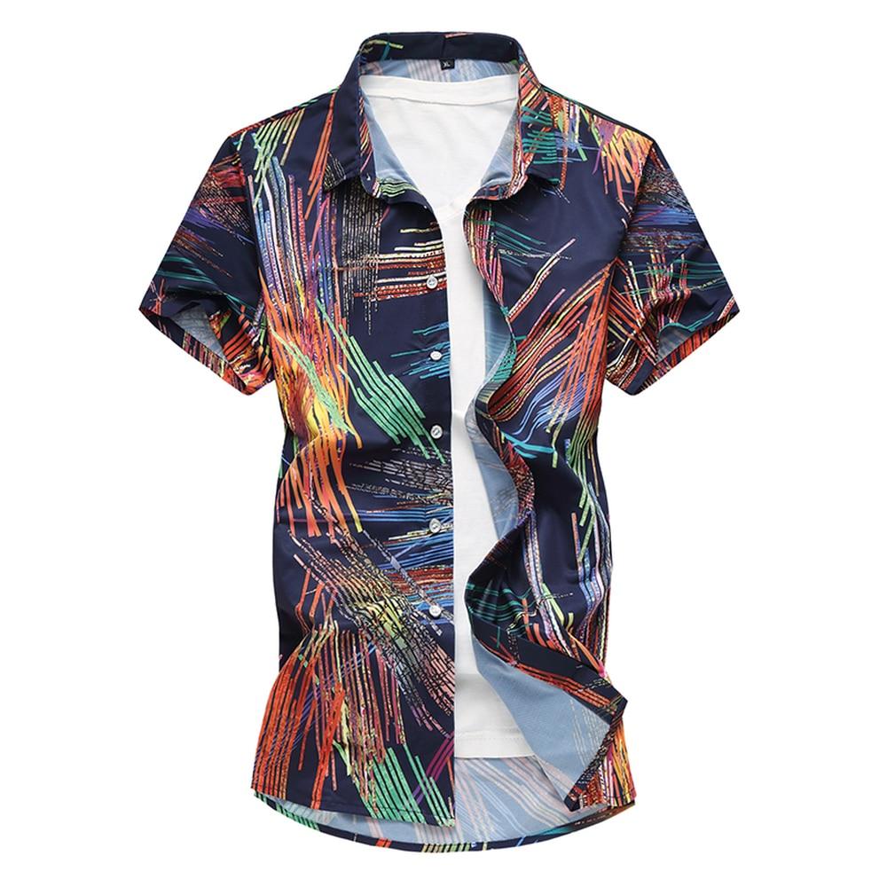 New Arrivals Print Male Shirt 2018 Casual Short-Sleeve Mercerized Cotton Breatha