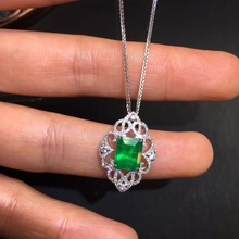 Fine Jewelry AIGS Certificate Real 18K White Gold AU750 Natural Green Emerald 1.67ct Gemstones Pendants for Women Fine Necklace noble jewelry emerald cut 6x8mm solid 18k two tone gold natural diamond tanzanite pendants jewelry for women wp070
