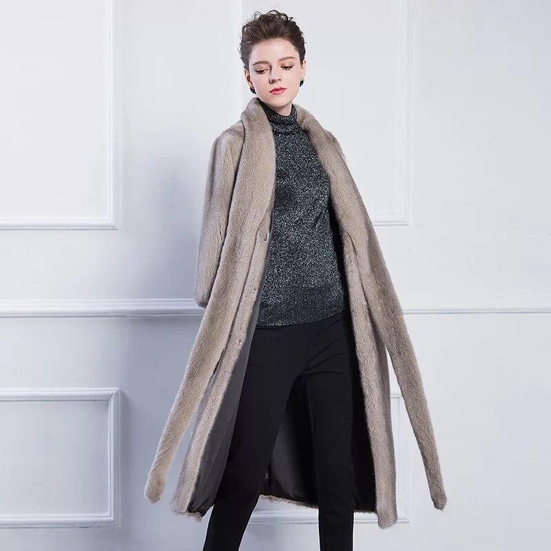 Ceintures Natural Qualité Marque De Naturel Femmes Long 2017 Lady Color Vison Veste Luxe Style Des Élégant Importés Avec Fourrure Haute Manteau Hiver 7RxBwwaCq