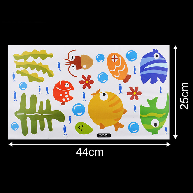 BornIsKing Lovely Tropical Cartoon Fish Sea Bubble Ocean World Removable Wall Sticker Decal Washroom Baby Room Decor