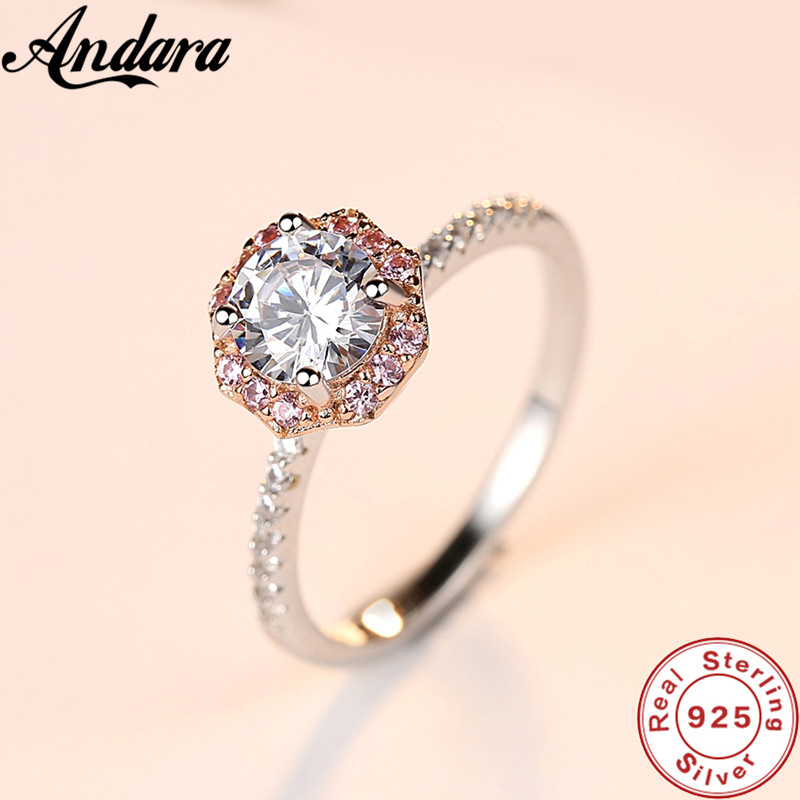 Hot 100% 925 Sterling Silver Pink <font><b>Crystal</b></font> AAA Zircon Women's Ring Exquisite S925 Jewelry Wholesale image