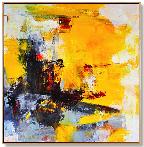 100 handmade bright color modern Canvas Painting yellow and black Abstract oil painting Wall Art Office Bedroom wall picture in Painting Calligraphy from Home Garden