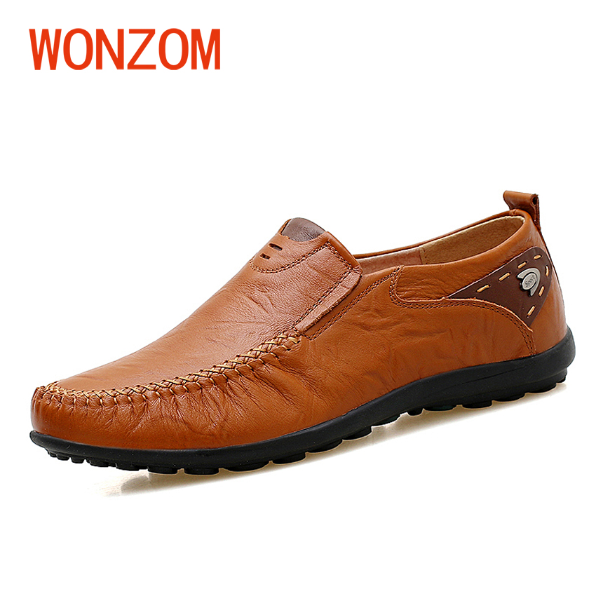 WONZOM High Quality Genuine Leather Brand Men Casual Shoes Fashion Breathable Comfort Footwear For Male Slip On Driving Loafers vesonal 2017 quality mocassin male brand genuine leather casual shoes men loafers breathable ons soft walking boat man footwear