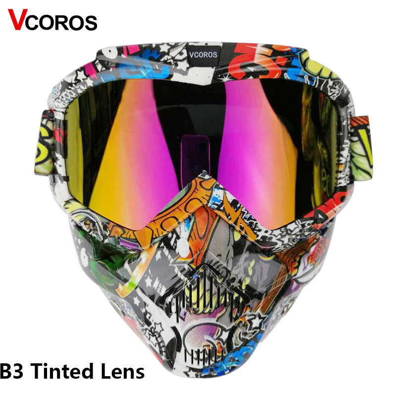 VCOROS  Motorcycle Helmet Mask Modular Mask For Open Face Retro Vintage Helmets Detachable Googgles With Windproof Mask