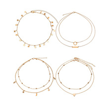 4 Pcs/ Set Handmade Multi-layer Chain Necklace for Women Fashion Heart Star Pendant Clavicle A021