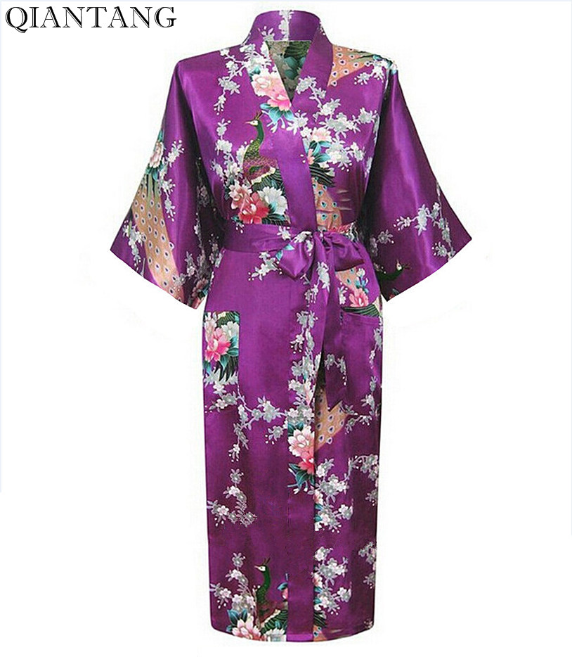 Brand New Navy Purple Lady Bath Robe Kimono Bath Gown Women Sexy