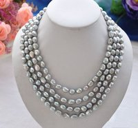 Unique Pearls jewellery Store Gray Color 4Rows Cultured 8 9mm Freshwater Pearl Necklace Magnet Clasp