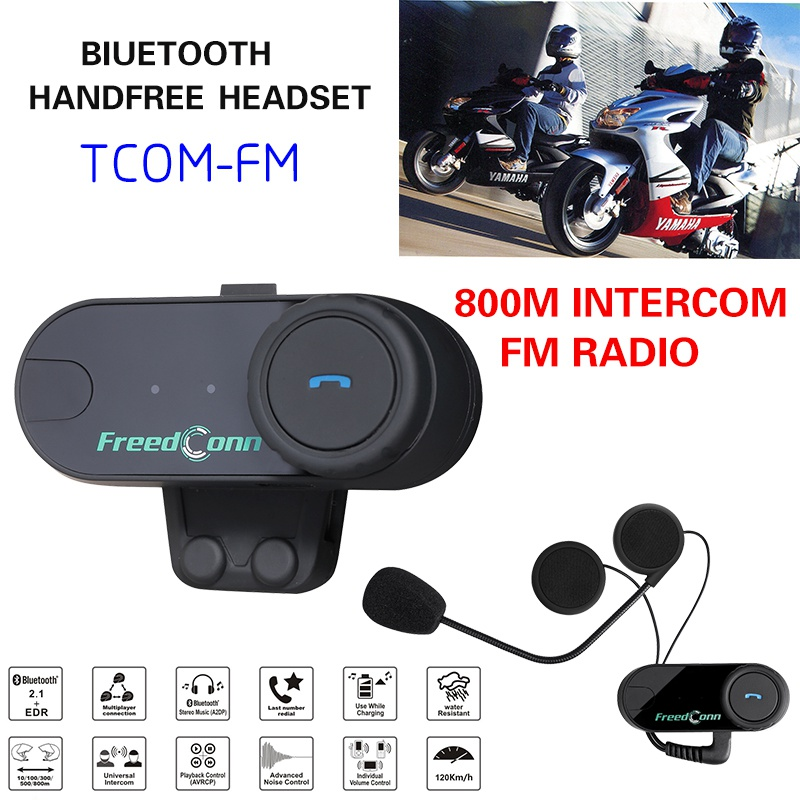 800m BT Motorycle Helmet Headset FM Radio  Helmet  Bluetooth Intercom TOM-VB