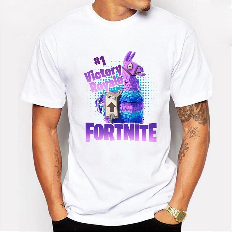 Funny Fortnite Unicorn Tshirt for Men White Casual Creative Homme T Shirt Letter Print Camisetas Hombre Summer Tops Dropshipping