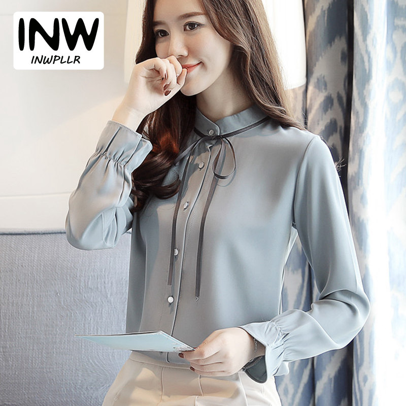 venta caliente online edd1c 6483f US $15.2  Women Work Shirts Office Chiffon Blouse Camisa Mujer 2019 Fashion  Elegant Plus Size Tops Femme Autumn Long Sleeve Blusas Mujer-in Blouses &  ...