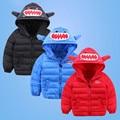 2016 Winter children's jacket fashion girls boys cotton hooded coat kids monster shark shape down jacket warm outwear 16A12