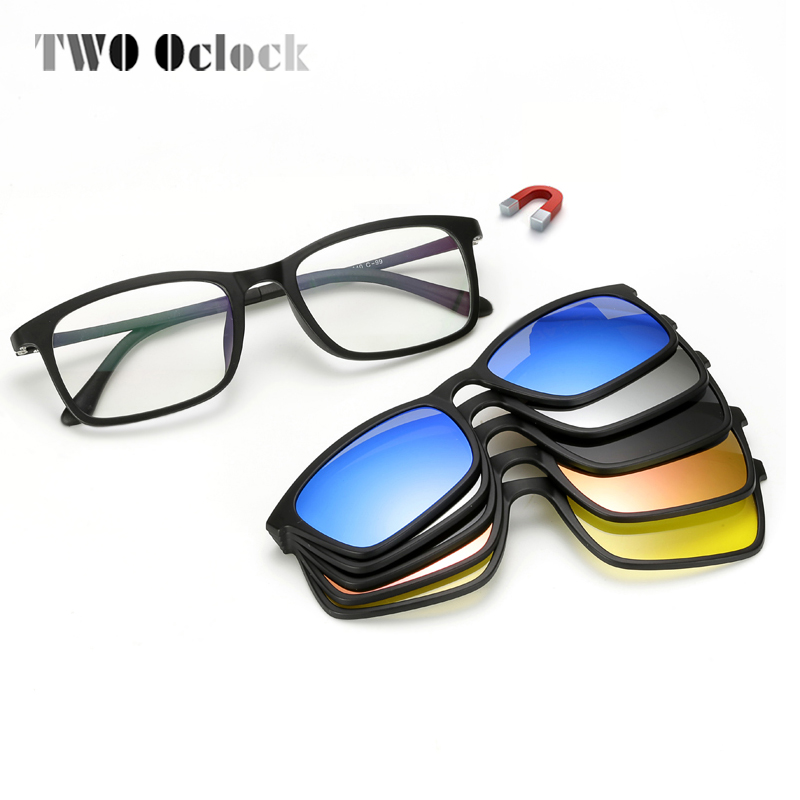 TWO Oclock Ultra-light Polarized <font><b>Magnet</b></font> <font><b>Sunglasses</b></font> Men Women <font><b>Clip</b></font> On Glasses TR90 Optical Frame <font><b>5</b></font> In 1 Myopia Glasses <font><b>Lens</b></font> 8803 image
