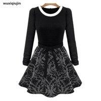 Ladies 2017 new Autumn women dress long and puff sleeve dress middle waist dresses brand women fashion show black and khaki