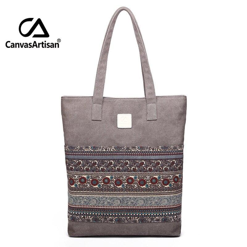 Canvas Women Handbags Floral Printing Vintage Female Shopping Shoulder Bag Zipper Closure Tote Hand Bags National Style Bolsas