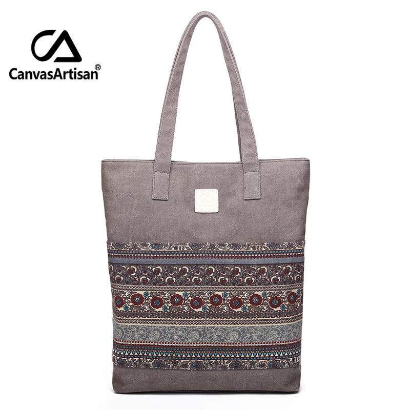 Canvas Women Handbags Floral Printing Vintage Female Shopping Shoulder Bag Zipper Closure Tote Hand Bags National Style Bolsas