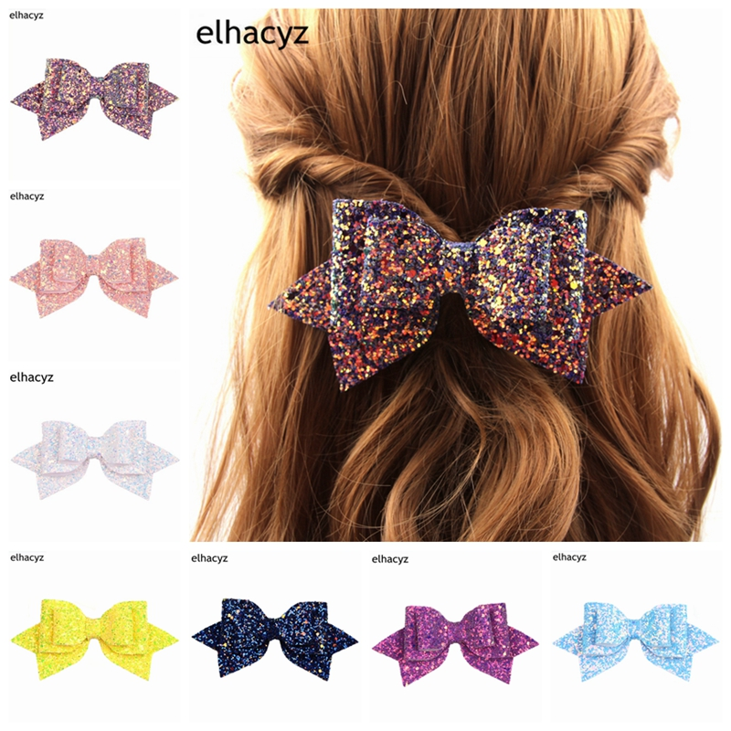 NEW 5'' Boutique Bowknot Princess Hairgrips Glitter Hair Bows with Clip Dance Party Bow Hair Clip Girls Hairpin Hair Accessories pretty girls boutique shining glitter bow hair bands for dance party children toddler hair accessories
