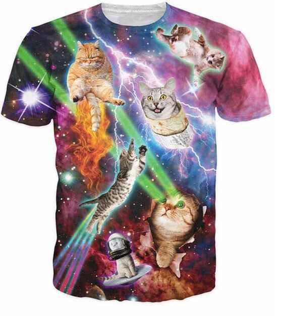 Cool Cat футболки с 3D-принтом Harajuku Disco котенок Графический Футболка Модные Повседневное Топы пространство Galaxy Удобная футболка yezzy