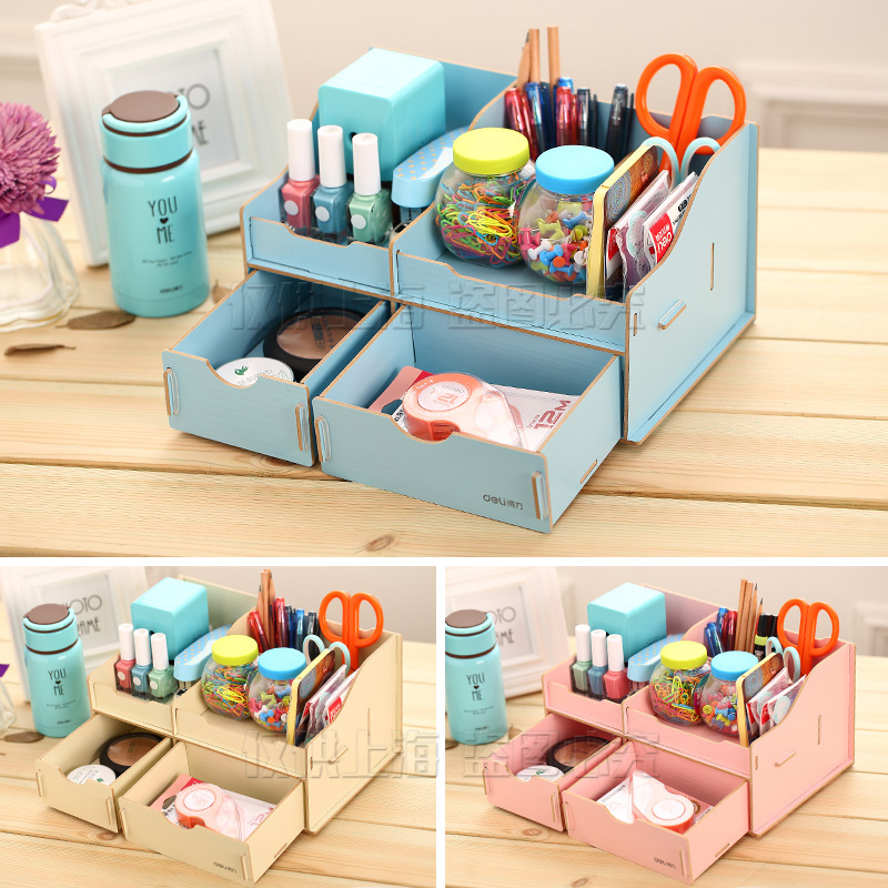 1 Set Wood Pen Holder Dest Accessories And Organizer Detachable Stationery Holder 3 Colors DIY Deli 9116 deli 9145 stylish pc pencil pen holder deep pink wood