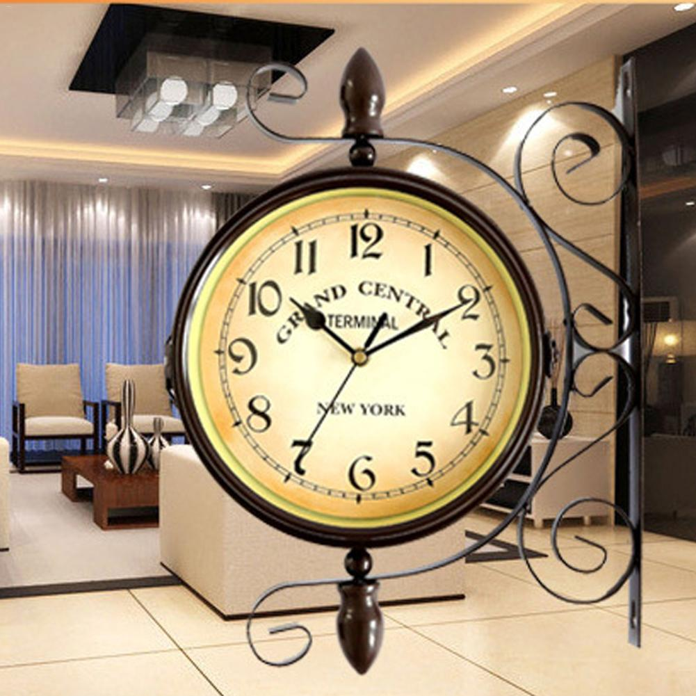 Wrought Iron Wall Clock Modern Design Double sided Wall Clock ...