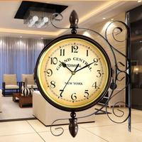 17mm/0.67inch Europe Double Face Wrought Iron Wall Clock Antique Style Vintage Large Clocks Home Decoration Wall Clock