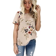 цена на Plus Size 3XL  Print Floral Female T-shirt Print Summer O Neck Short Sleeve T-shirt Summer Women Casual  Loose T-shirt 6 Colors