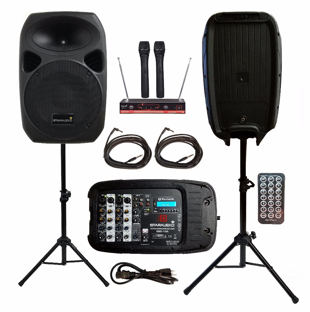 STARAUDIO 2Pcs 10inch 1500W PA DJ KTV Stage Passive BT SD Speakers W/2CH VHF Wireless Mics Stands Powered Mixer Cables SSD-10A