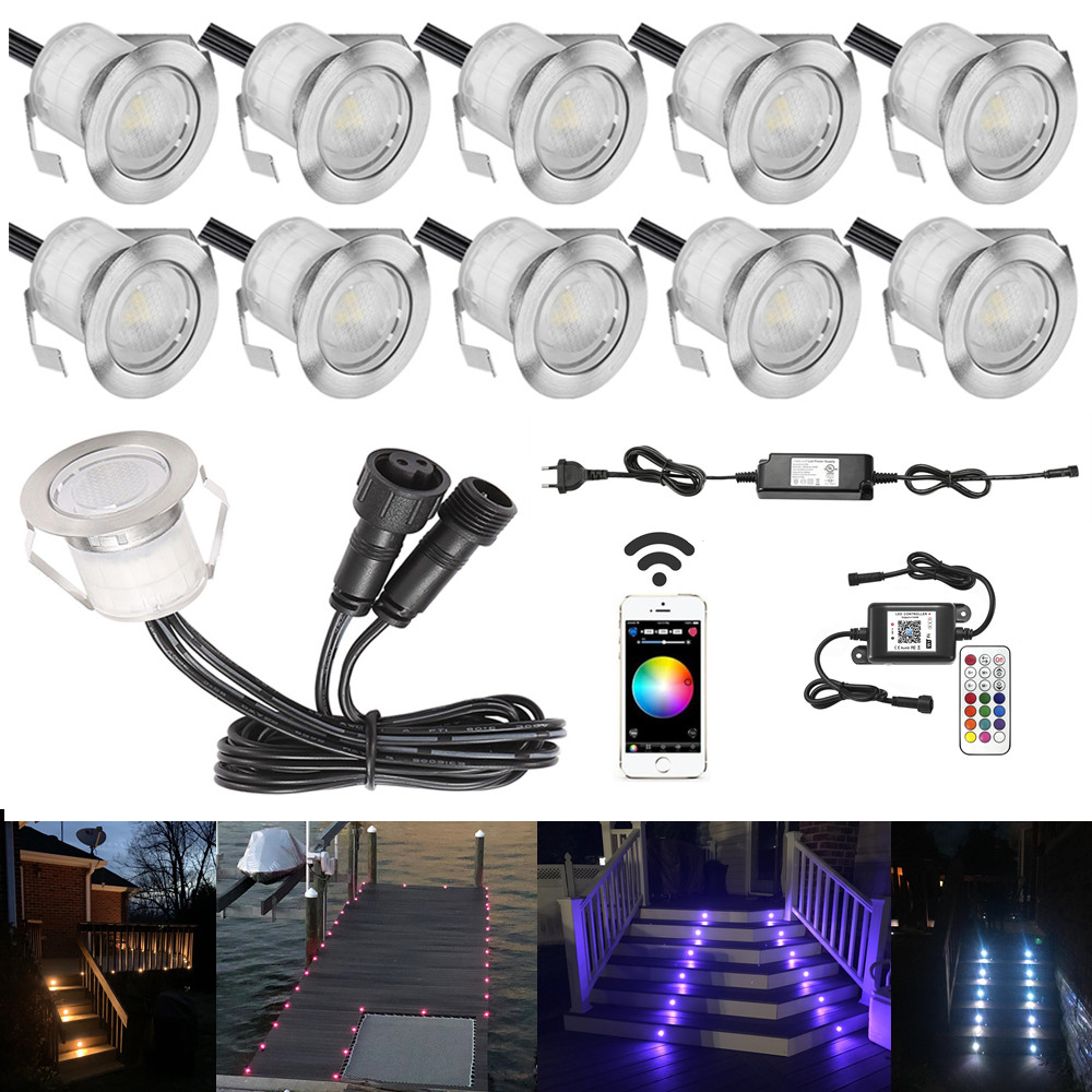 10Pcs 30mm LED Deck Stair Step Driveway Kitchen Terrace Lights Wifi Music Controller Dimmer Timer For Alexa Google Home IFTTT
