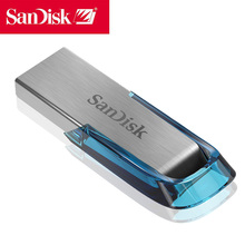 Sandisk 100% Pendrive 64GB USB3.0 Flash Drive 64gb cle usb stick Genuine Ultra Flair metal Pen On key Blue Memory Stick
