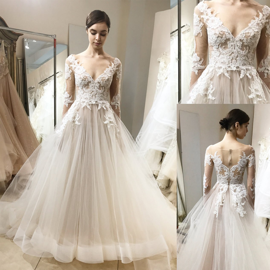 V-Neck Long Sleeves Wedding Dress With Lace Appliques Illusion Tulle Back Zipper Sweep Train Bridal Dress Ball Gown De Noiva