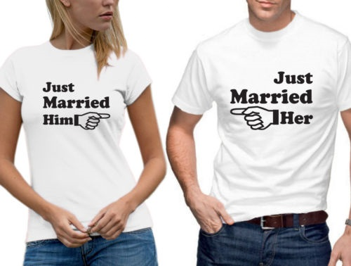 Buy just married him her arrow matching for Couple printed t shirts india