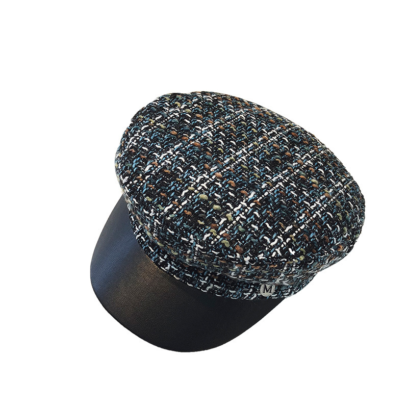 Cap tweed leather navy hat autumn and winter hat ladies Europe and America outdoor wild octagonal cap