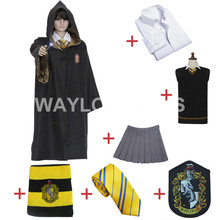 Free Shipping Harry Potter Hufflepuff Cosplay Robe Cloak Skirt Shirt Sweaters Tie Scarf Uniform for Harry Potter Cosplay