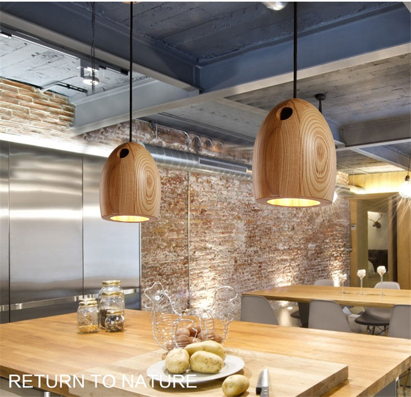купить L31-Creative solid Wood Led Pendant light Cafe Restaurant Wood Pendant lamp Nordic Modern Lighting Hanging Lamp for Home Light недорого