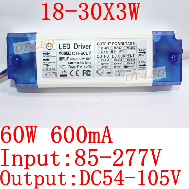 1Pieces 40W 50W 60W LED Driver 18-30x3W 600mA DC54-105V High Power LED Powr Supply For Floodlight