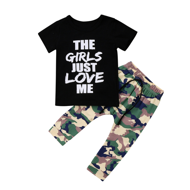 e87c6895d 2018 Fashion Toddler Kids Boys Tops T-shirt Camo Pants 2Pcs Outfits Costume  Set Clothes 1-6T