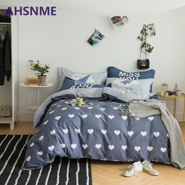 AHSNME 100% Cotton Bedding Items Europe Russia Australia United States size peach pink cherry blossoms plum style duvet cover