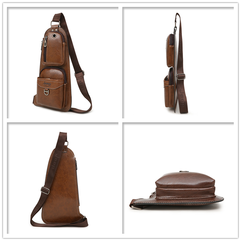 Image 4 - JEEP BULUO BRAND New Men Messenger Bags Hot Crossbody Shoulder Bag Famous Man's Leather Sling Chest Bag Fashion Casual 6196-in Crossbody Bags from Luggage & Bags