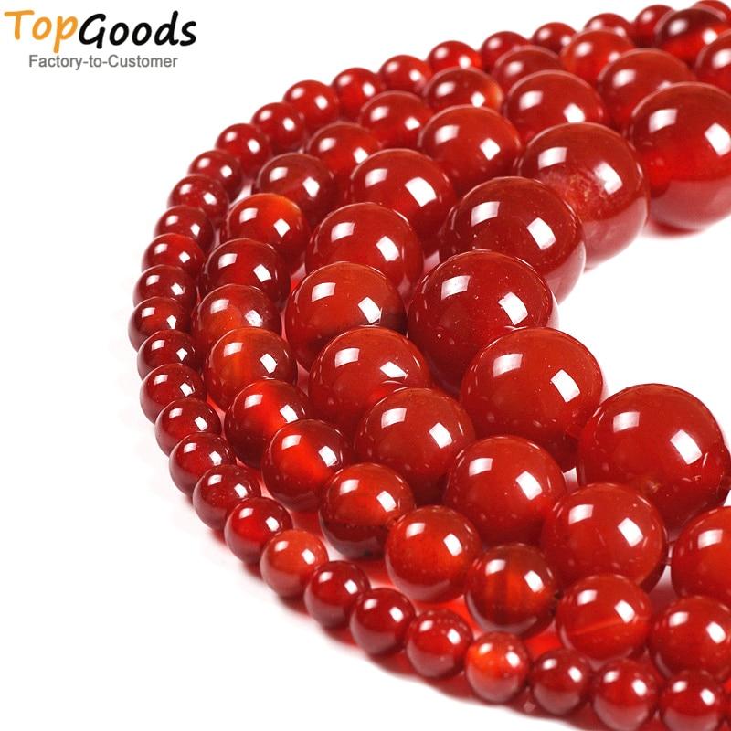TopGoods Természetes kő gyöngyök vörös agát kerek laza Onyx - Finom ékszerek