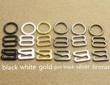50sets Metal Bra strap Adjustment buckle Rings Slides Hooks Invisible Underwear Lingerie 15MM&20MM