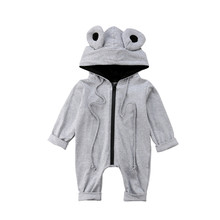 Newborn Kids Baby Boys Girl 3D Ears Hooded Romper Jumpsuit Toddler Cotton Zipper Cartoon Frog Rompers Overalls Clothes Sunsuit(China)