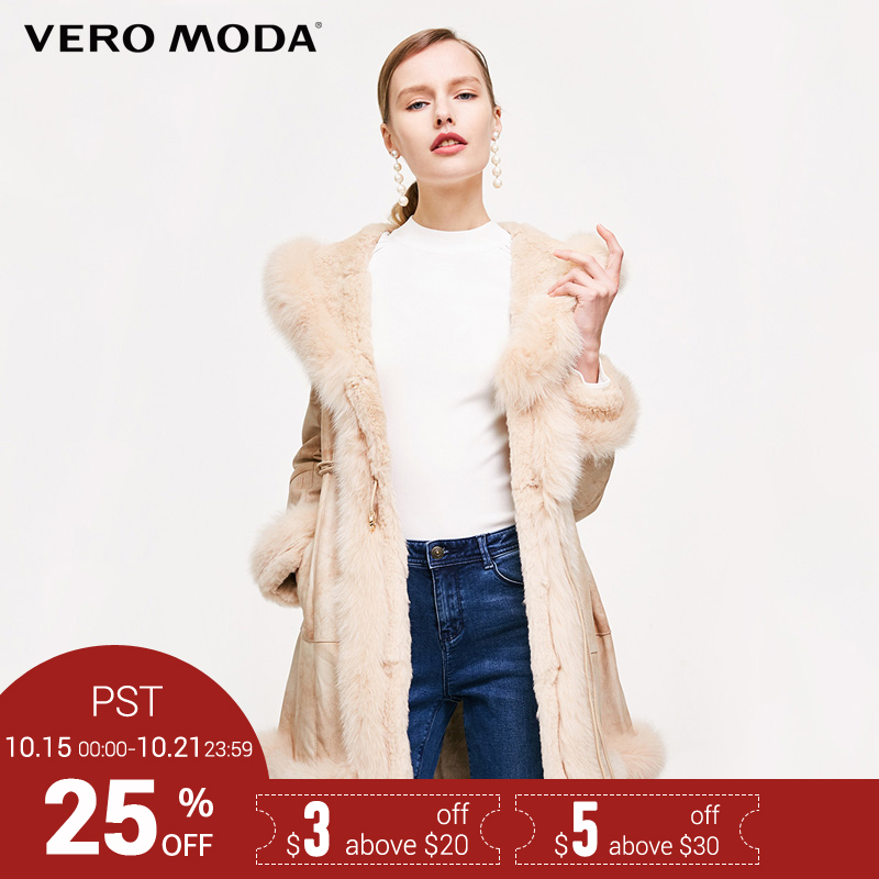 Vero Moda Marque 2018 NOUVELLE peau de porc lapin renard de cheveux fourrure splice poche latérale mi-longueur survêtement femmes en cuir manteaux 317428507