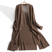 viscose rayon thin knit women spring autumn summer fashion long dress sweater sun protection cardigan coat open hem one size