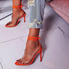 Female sandals Sexy High-heeled Shoes Open Toe Lace up Footwear Club Party Jelly Shoes Solid Thin Heels Footwear Bandage Pumps