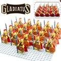 21 unids/lote hero of sparta con placa base gladiatus caballeros medievales roma building blocks ladrillos niños diy juguetes de aprendizaje