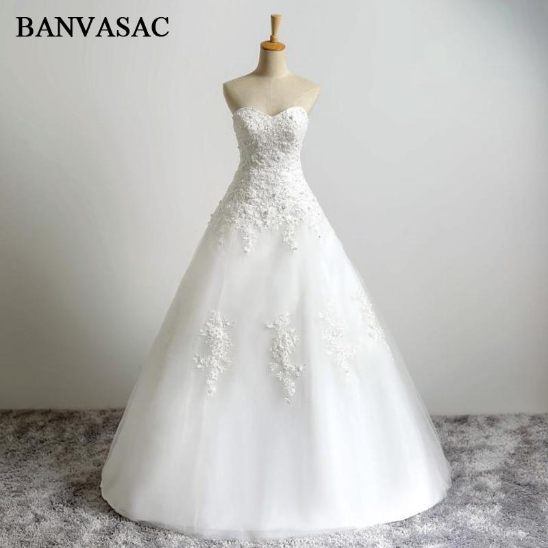 BANVASAC 2017 nuevo bordado elegante sin tirantes vestidos de novia sin mangas Listones satén encaje nupcial vestidos de bola